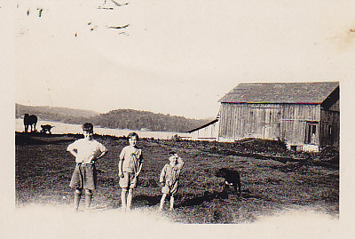 Bruce, Olga and  Jack Crewson 1926  The barn still stands.