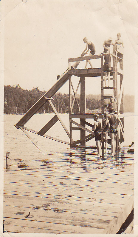Camp swim dock and tower with slide
