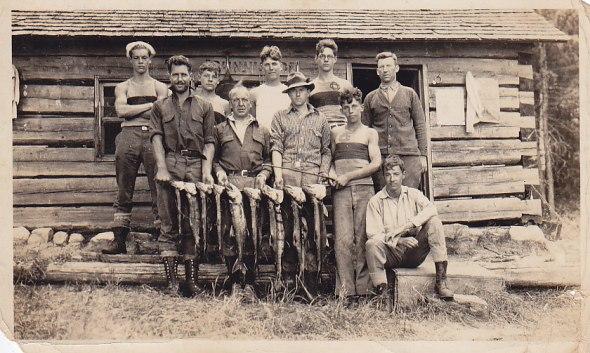 L-R (holding fish) Norman Stagg, Mr Bloomfield, Jim Wright, Bill Dugan, Bill Crewson 1920