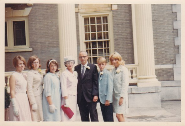 Marion, Carolyn, Libby, with Rachel Rogers as she marries Bernie, with Keith, Kathy Clarke
