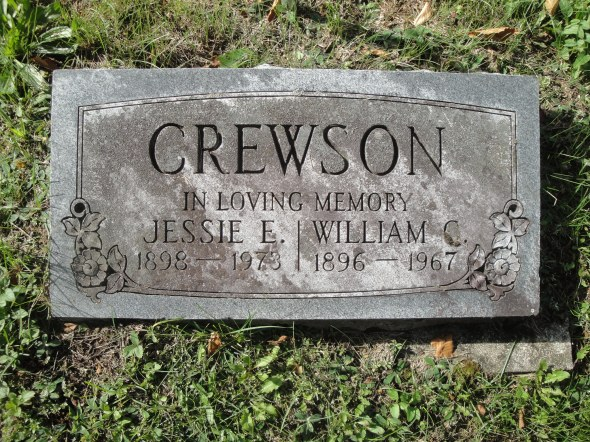 Bill and Jessie Crewson's grave marker at Paint Lake Cemetery