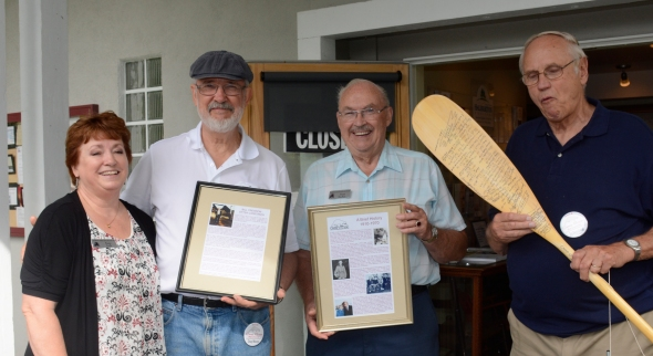 Kerry Lock (L), Doug Webster, Norman MacKay and Jim Boguslawski at the Dorset Heritage Museum Saturday morning Sept. 6th.  Lock is the Chair of the Museum Volunteer Committee and MacKay is past Chair.  Alumni presented the Museum with the camp's bell, framed documents about the camp's history and the life of Bill Crewson, and a paddle signed by all reunion attendees.