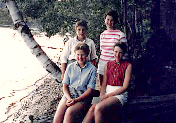 Way back when, campers Grace Waters (Lower L and clockwise) Wendy Duchscherer, Joan Fleischhauer and Martha Otis gathered for this photo on the shore of Otter Lake.