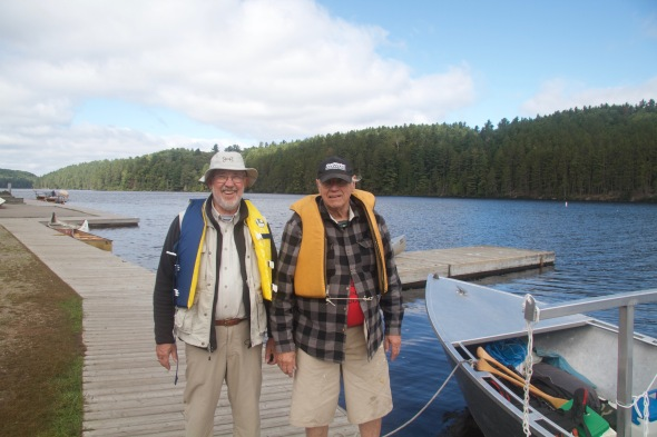 Geezer guys ready for a swift boat ride up Opeongo