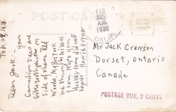 postcard from Howie Ortner 1938